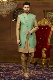 Sea Green Gold 3 Piece Indo Western Sherwani