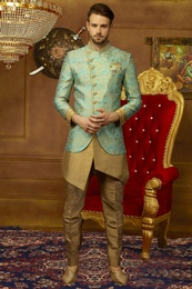 Asymmetrical Rich Look Golden Indo Western Sherwani