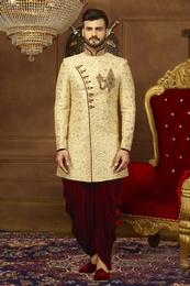 Alluring Cream And Maroon Silk Indo Western Sherwani