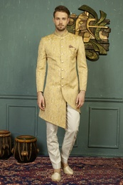 Purely Traditional Golden Asymmetrical Indo Western Sherwani