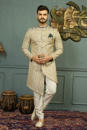Asymmetrical Grey And Golden Rich Look Indo Western Sherwani