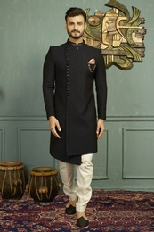 Asymmetrical Black And Blue Indo Western Sherwani