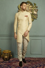 Rich Look Cream Asymmetrical Indo Western Sherwani