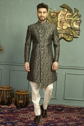 Magnificent Black Imported Jaqurd Indo Western Sherwani