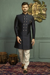 Alluring Blue Marriage Indo Western Sherwani
