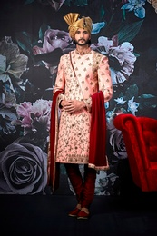 Designer Groom Pink Wedding Sherwani