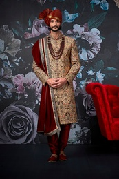 Midnight Golden Groom Wedding Sherwani