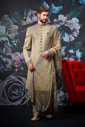 Dark Cream Luxurious Wedding Sherwani