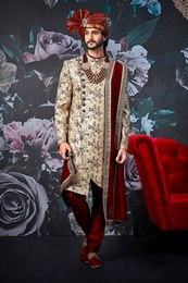 Magnificent Ethnic Look Beige Wedding Sherwani