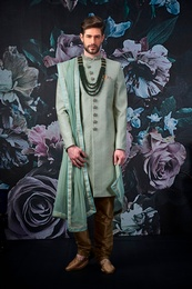 Stylish Sea Green Wedding Sherwani