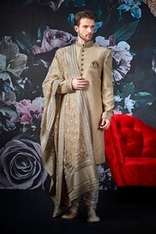 Stylish Cream Wedding Sherwani