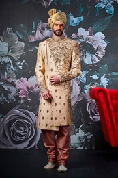 Golden Colour Elegant Look Wedding Sherwani