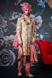 Graceful Groom Beige Wedding Sherwani
