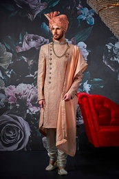 Prince Look Peach Wedding Sherwani