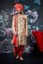 Luxurious Look Beige Wedding Sherwani