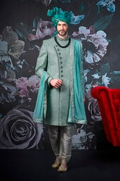 Sea Green Silk Wedding Sherwani