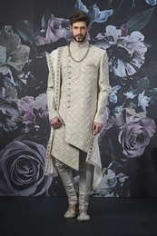 Asymmetrical Groom Stylish Wedding Sherwani