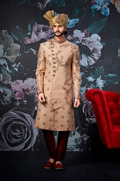 Groom Cream Wedding Sherwani