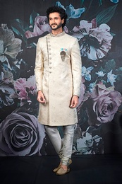 Traditional Cream Wedding Sherwani