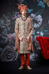 Trendy Style Cream Wedding Sherwani