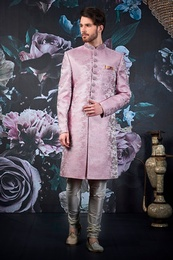 Stellar Purple Silk Wedding Sherwani
