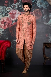 Princely Fit Dark Peach Wedding Sherwani
