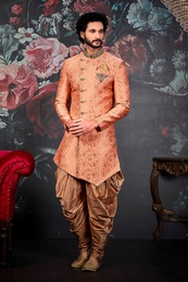 Captivating Light Orange Wedding Sherwani
