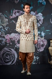 Designer Golden Wedding Sherwani