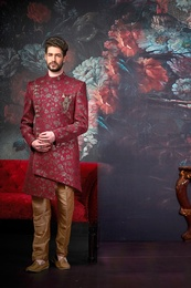 Asymmetrical Groom Wine Wedding Sherwani