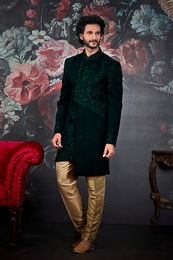 Dark Green Asymmetrical Designer Wedding Sherwani