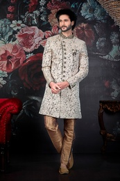 Royal Cream Silk Wedding Sherwani