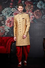 Royal Golden Wedding Sherwani