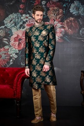 Ethnic Green Wedding Sherwani
