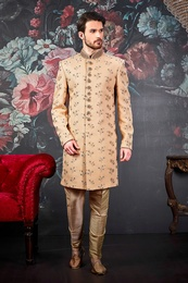 Extraordinary Look Beige Wedding Sherwani
