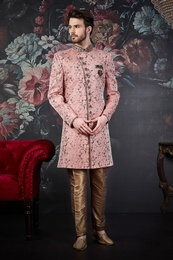 Modern Dark Pink Wedding Sherwani