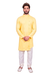 Exquisite Yellow Cotton Indo Western Sherwani