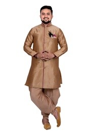 Groom Ethnic Golden Silk Indo Western Sherwani