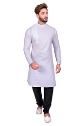 White Well Tailored Cotton Indo Western Sherwani