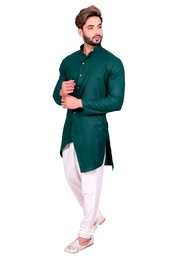 Green Festive Look Cotton Indo Western Sherwani
