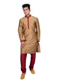 Pleasant Silk Golden Kurta Set