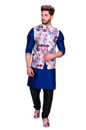 Blue Kurta Set With White Multi Floral Print Silk Jacket
