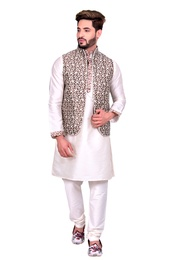 Off White Kurta Set With Brocade Silk Copper Golden Jacket