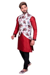 Maroon Kurta Set With White Multi Floral Print Silk Jacket