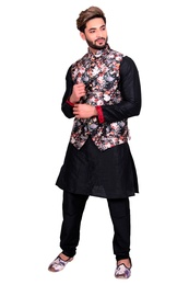 Black Kurta Set With Black Multi Floral Print Silk Jacket