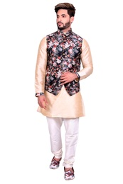 Beige Kurta Set With Black Multi Floral Print Silk Jacket