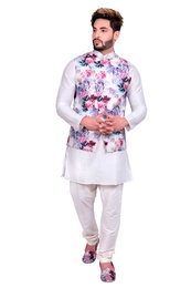 Off White Kurta Set With Multi Floral Print Silk Jacket