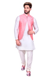 Pretty Look Off White Kurta Set With Light Pink Silk Jacket
