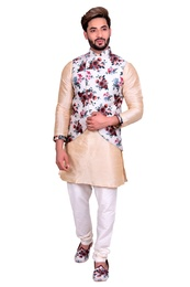 Beige Kurta Set With Apple Cut White Floral Silk Print Jacket