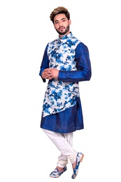 Blue Silk Kurta Set With Asymetrical Floral Print Jacket