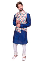 Blue Kurta Set With Asymetrical Floral Print Silk Jacket